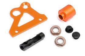 Brake holder plate, spacer, brake cam and flanged metal bushing